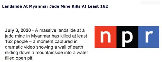 缅甸玉石矿山体滑坡造成至少162人死亡