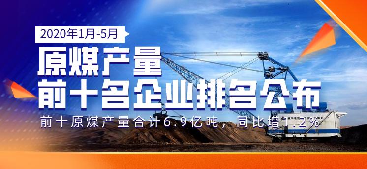 2020年1-5月原煤产量前十名企业排名公布