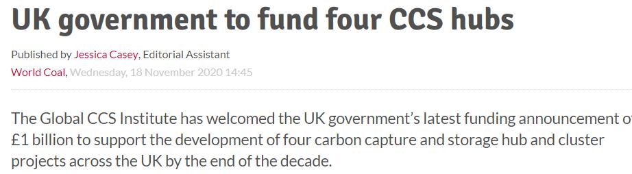 英国政府资助四个CCS中心