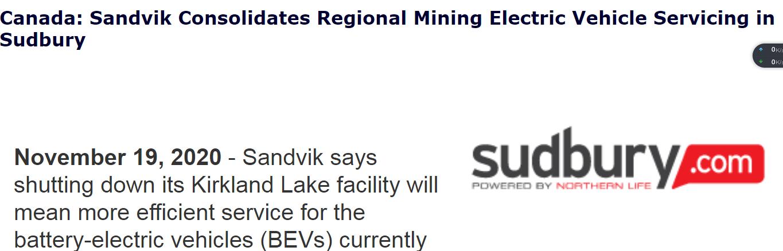 山德维克(Sandvik)整合了加拿大Sudbury的区域采矿电动汽车服务