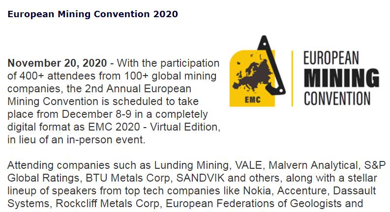 第二届欧洲矿业大会(EMC 2020)将在线上举办,矿业大佬无一缺席